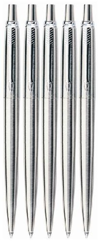 5 x PARKER JOTTER STAINLESS STEEL , Blue Ink