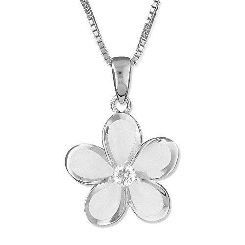 15 Plumeria Pendant Mm (Sterling Silver 15mm Plumeria Pendant Necklace, 16+2