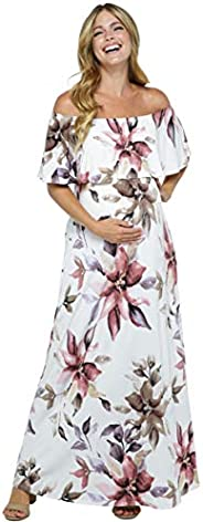 HELLO MIZ Women's Ruffle Off The Shoulder Maxi Maternity Dress - Made in