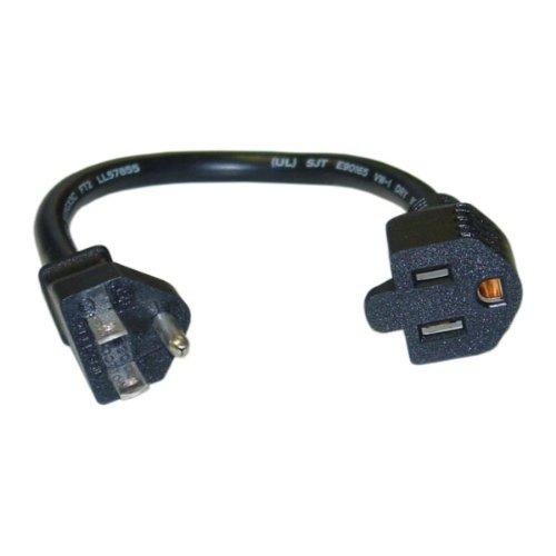 CableWholesale Power Extension Cord, Black, NEMA 5-15P to NEMA 5-15R, 13 Amp, 16 AWG, 10 Amp, 1 foot
