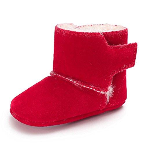 Igemy Stiefel Neugeboren Baby Mädchen Fluffy Velvet Schuhe Soft Sole Crib Kleinkind Anti-Rutsch Rot