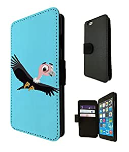 1134 - Cute Fun Bird Animal Drawing Blue Design iphone 5C Fashion Trend TPU Leather Flip Case Full Case Flip Credit Card TPU Leather Purse Pouch Defender Stand Cover