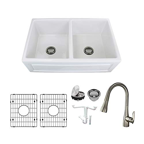 Transolid KF-FUDH332010 Versailles Fireclay Undermount Reversible French/Plain Equal Double Bowls Farmhouse Kitchen Sink Kit, Including Faucet 32.67-in L x 19.7-in W x 9.9-in H White ()