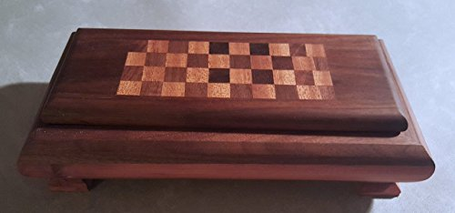 Traditional Checkerboard (Finely Crafted Valet Box Handmade Gift Walnut with Red Cedar Band and Feet with Mahogany and Walnut Checkerboard Inlay Lid)