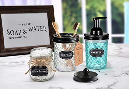 Mason Jar Bathroom Accessories Set - Includes Mason Jar Foaming Hand Soap Dispenser and Toothbrush Holder - Rustic Farmhouse Decor Apothecary Jars Bathroom Countertop and Vanity Organizer (Black) - ✅ STYLISH STORAGE: Creat depth, texture and a beautiful space by using the mason jar soap dispenser and toothbrush holder.It's a cute shabby chic home accessories set you can get!Ideal modern farmhouse decor! ✅ FOAMING HAND SOAP DISPENSER PUMP - Our foaming hand soap dispenser creates luxurious foaming soap with a simple push.DIY the foaming soap by mixing 4 parts water and 1 parts regular soap if you like.Eco-friendly for the environment as well as your household budget ✅ DECORATIVE TOOTHBRUSH HOLDER - The toothbrush holder fits most sizes of toothbrushes, toothpaste tubes, flossers, razors and more - bathroom-accessory-sets, bathroom-accessories, bathroom - 41NaxPVk4aL -