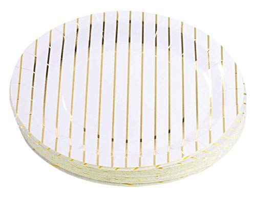 Gold Disposable Plates - 48-Pack Metallic Gold Foil Striped Paper Party Plates, 9-Inch Round Lunch Plates, Dessert, Appetizer, For Wedding, Bridal Shower, Birthday Party Supplies