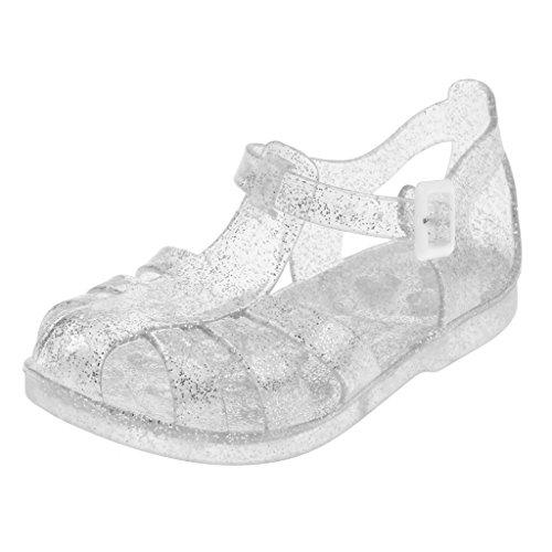 Sandalias De Playa Zapatilla Zapatos De Verano Lluvia Princesa Planos De Jalea Para Niños Niñas Muchachas - Plata, 26 Plata