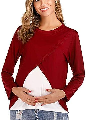 SODIAL Mujeres Embarazadas Maternidad Lactancia Materna Tops Doble Capa Embarazo Camisa Ropa Ropa de Lactancia L: Amazon.es: Ropa y accesorios