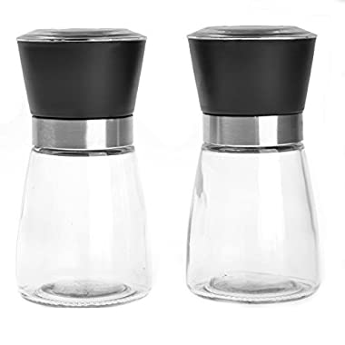 OnePlus High Grips Glass Salt and Pepper Grinder Set (Black)