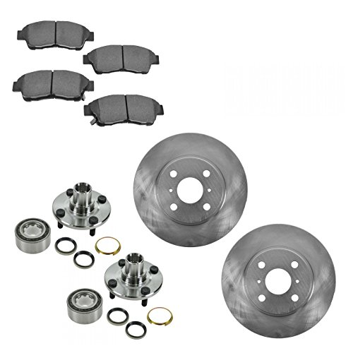Wheel Bearing & Ceramic Brake Pad & Rotor Front Kit for Toyota Corolla Geo Prizm
