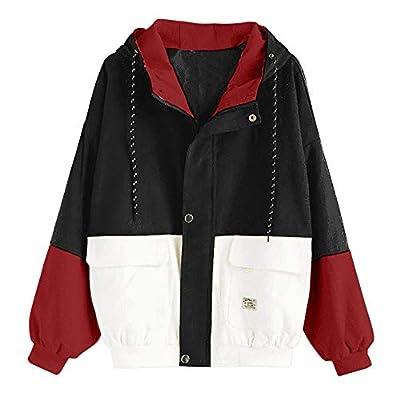 LBPSUUEW Women Coat Long Sleeve Corduroy Patchwork Oversize Jacket Windbreaker Overcoat Winter Casual Outwear