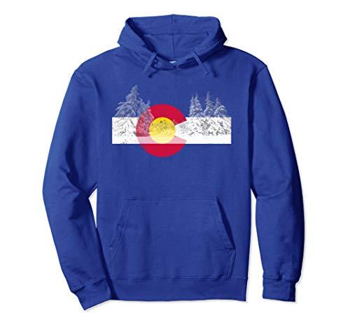 Unisex Colorado Hoodie Flag Mountain Ski Trees Outdoor Hoodie Medium Royal Blue
