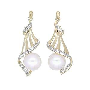 Bevilles 9ct Yellow Gold Round Fresh Water Pearl Diamond Set Drop Earrings