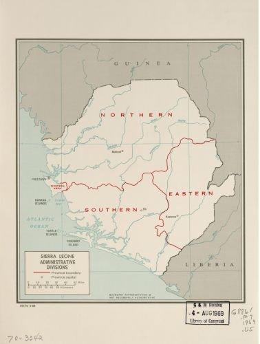 Amazon.com: 1969 Map Sierra Leone, administrative divisions. 3-69 ...