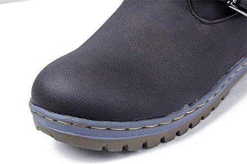 Damen Dunkel PU Schneestiefel Zehe Shoes Warm Braun Rund AgeeMi Schließen Gefütterte wq8zxXn5f