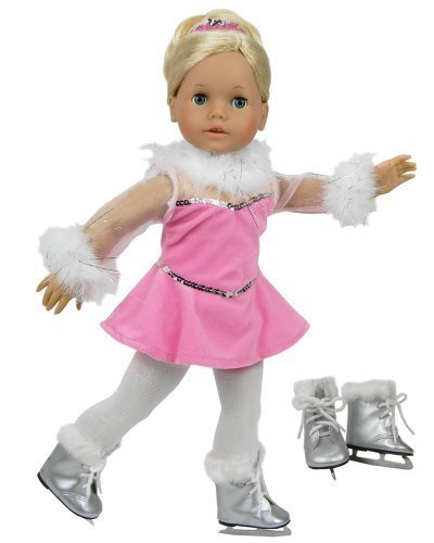 Sophia's 18 Inch Doll Clothes Ice Skating Outfit 5pc Set Made, Fits 18 Inch American Girl Doll Clothes & More! Complete Doll Pink Ice Skating Gown, Hair Piece, Doll Tights & Doll Ice Skates