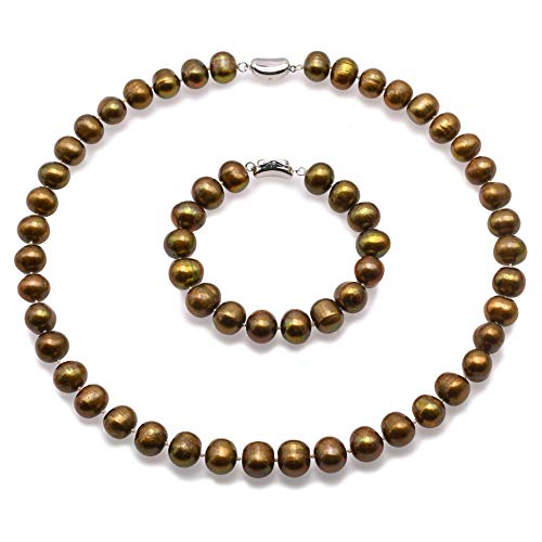 JYX Pearl Jewelry Set 11-12mm Bronze Freshwater Pearl Necklace&Bracelet Set for Women ()