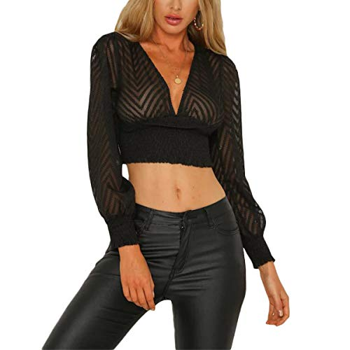 YUETU V Neck Sheer Crop Top Lace T-Shirt Women Sexy Hollow Out Slim Long Sleeve Top Black