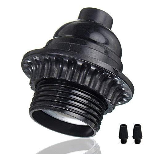 EFINEHOME 2 Pack Short Keyless Medium Base Phenolic Socket Black Period Style E26 E27 Socket Screw Bulbs Edison Retro Pendant Lamp Holder
