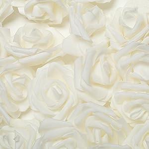 Shuohu Foam Fake Roses Artificial Flower Wedding Bride Bouquet Party Decor - 50/100Pcs 54
