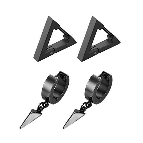 (Flongo Men's Women Punk Stainless Steel Triangle Shape Design Hoop Earrings,Christmas Thanksgiving New Year Wedding Gift)