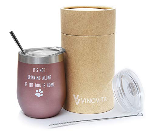 (It's Not Drinking Alone if the Dog is Home - VINOVITA Stainless-Steel Funny Wine Tumbler - Insulated Stemless Wine Glass with 2 Lids, Straw, Brush - Perfect Christmas, Birthday Gift - 12oz)