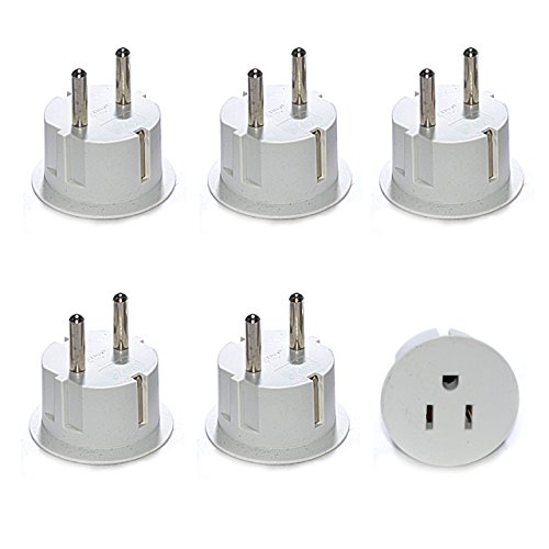 OREI American USA To European Schuko Germany Plug Adapters CE Certified Heavy Duty - 6 Pack - European Round Plugs