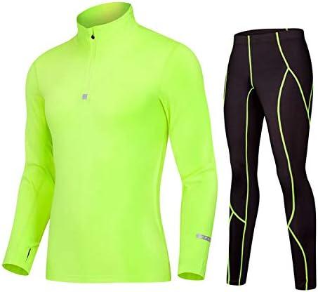 レディースジャージ上下セット Tシャツタイツセットメンズコンプレッションベースレイヤーセット長袖 吸汗 速乾 (Color : Green, Size : XXL)
