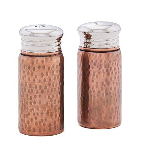 Old Dutch 562CU Hammered Antique Copper Salt & Pepper Set with Round Top, 3¼