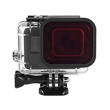 MadridGadgetStore® Filtro Rojo para Lente Protector de Objetivo Carcasa Estándar Cámara Go Pro GoPro Hero7 Hero6 Hero5 Hero 7 6 5 (Black Silver White) ...