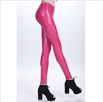65c4ee9151fe2 Diamondkit Liquid Wet Look Shiny Metallic Stretch Leggings (S, Pink):  Amazon.co.uk: Clothing