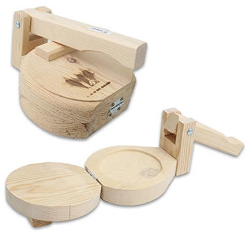Made in USA All Wood 7'' Manual Flower or Corn Tortilla Maker Press Wooden Handle and Body