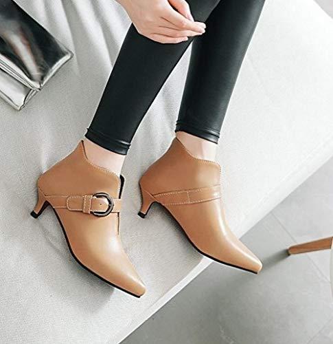 Chic On Ankle Shoes Apricot Slip Mee Women's Heel Kitten Boots qIEHP74w
