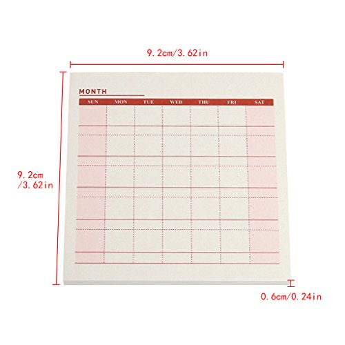 Ladaidra Writing Note Pads Monthly Plan Page 60 Sheets, 3.62