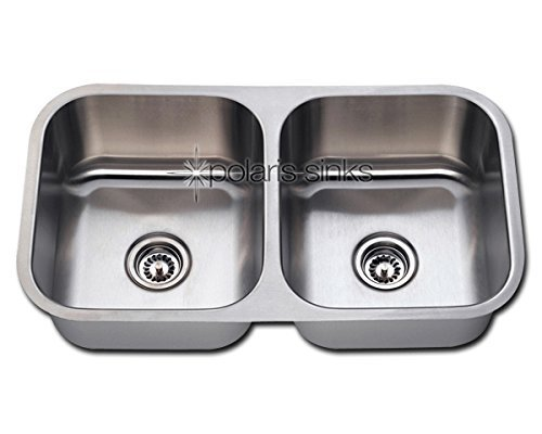 Polaris Sinks PA205-16 Equal Double Bowl Stainless Steel Kitchen Sink by Polaris Sinks by Polaris Sinks