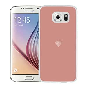 NEW Unique Custom Designed Samsung Galaxy S6 Phone Case With Simple Flat Heart Illustration Valentines_White Phone Case