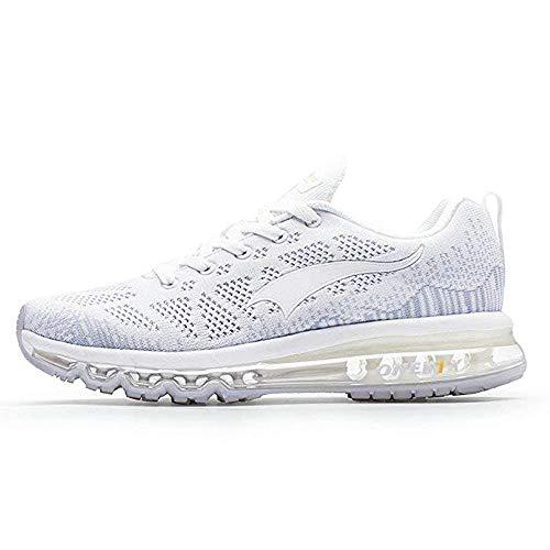 ONEMIX Womens Lightweight Air Cushion Outdoor Sport Running Shoes White/Silver Women 8(M) US