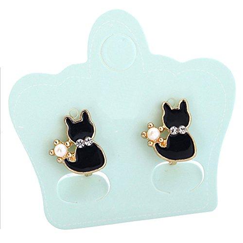 Girl's Sweet and Cute Animals Black Cat Clip on Earrings No Pierced Earrings for Women Teen Girls Gift -