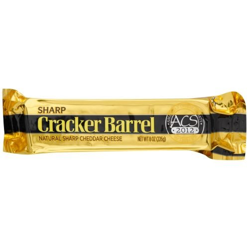 Cracker Barrel Natural Sharp Cheddar Cheese, 8 Ounce -- 12 per case.