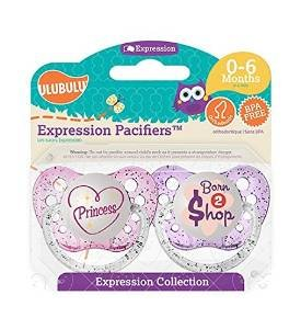 - UlubuluExpression Pacifier 2 pack -- Princess and Born To Shop