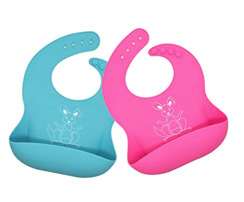 Waterproof Silicone Baby Bibs for girls and boys - rinses clean easily - by Mom n Dad Designs - An easier mealtime with toddlers & babies (Blue & Pink)
