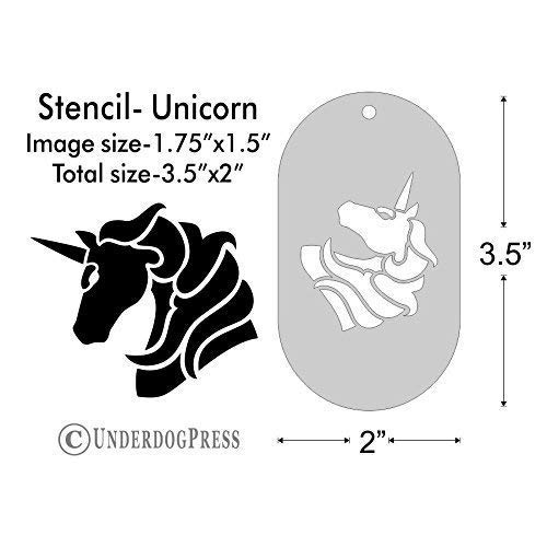 Stencil- Unicorn, 1.75x1.5 Inch Image on 3.5x2 Border, Size 1 (Silhouette Horse Painting)