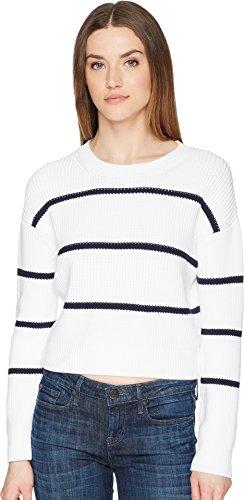 Vince Women's Racked Rib Stripe Sweater, Optic White/Coastal, Medium -