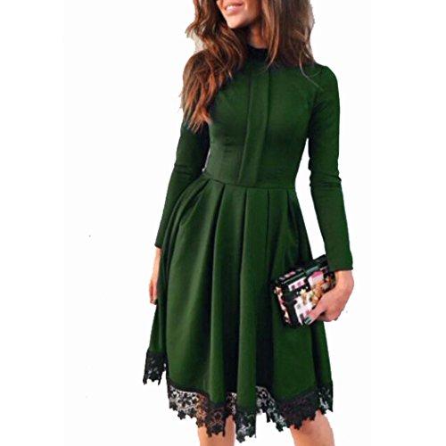 De la Mujer Elegante Otoño cuello alto manga larga encaje vestido Verde