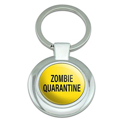 [Graphics and More Zombie Quarantine Yellow Black Classy Round Chrome Plated Metal Keychain] (Zombie Quarantine)