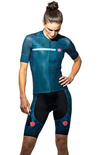 Sundried Womens Pro Bereich Radfahren Jersey Kurzarm Bike Jersey Straßen-Fahrrad-Zyklus-Abnutzungs-Mountainbike-Shirts (blau, S)