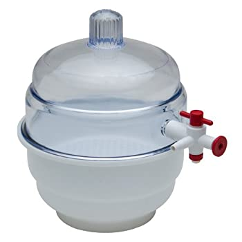 "Bel-art ""Space Saver"" Polycarbonate Vacuum Desiccator With White Polypropylene Bottom; 0.20 Cu. Ft. (F42020-0000) 0"
