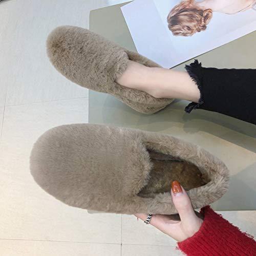 Plat Respirant Kaki Femme Chaussures Haobing Talon Pantoufles Fourrées Air Maison Peluche Plein Antidérapants wfCRqxEdR