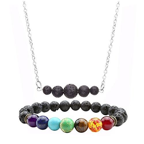 Jovivi Men Women Lava Stone Aromatherapy Essential Oil Diffuser Necklace Bracelet Set- 7 Chakra Gemstone Charms Jewelry