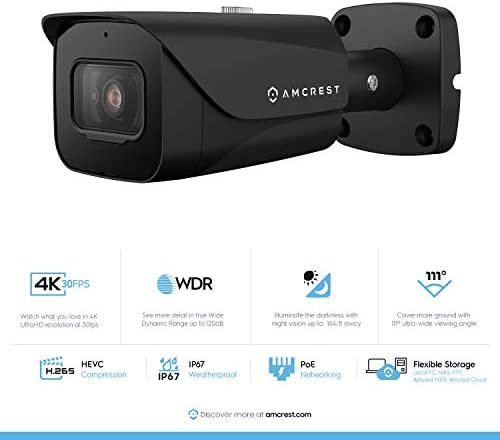 Amcrest 4K POE Camera 30fps UltraHD 8MP Outdoor Bullet PoE IP Camera, 164ft Night Vision, 2.8mm Wide Lens, 111 Viewing Angle, IP67 Weatherproof, 4K 3840×2160 30fps, Black IP8M-2597EB-28MM